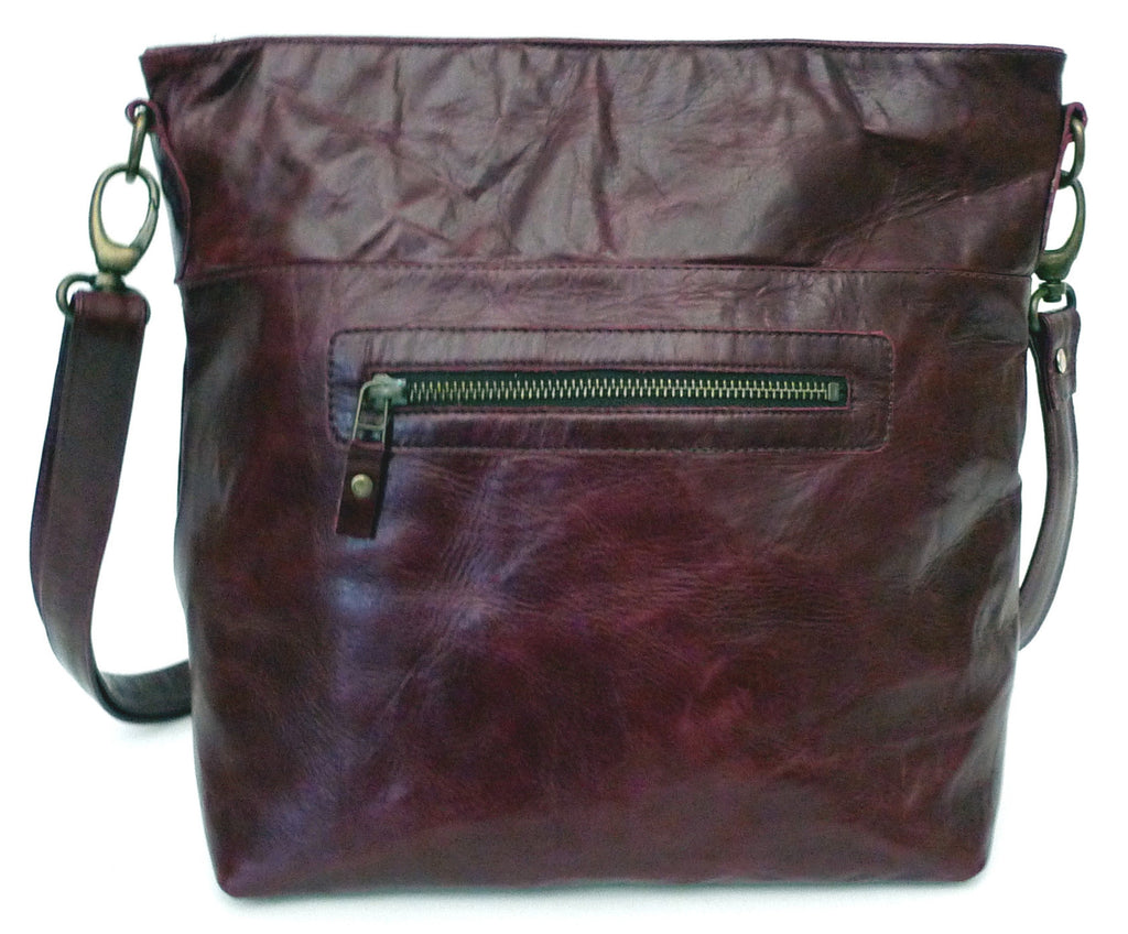 Italian leather Blackcurrant zip tote