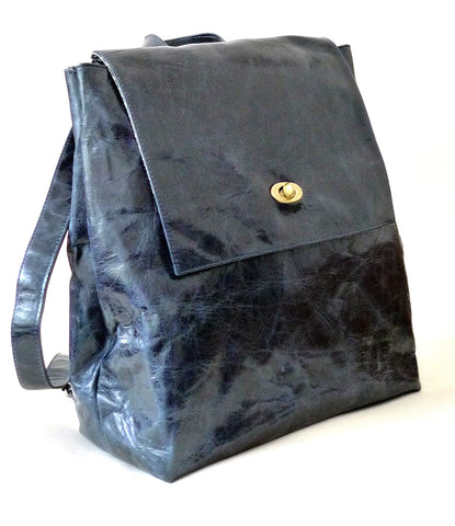 Italian leather Navy rucksack