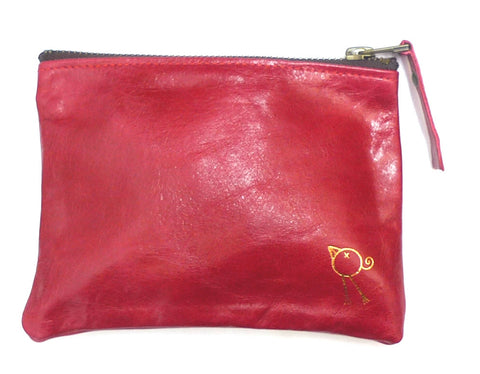 Italian leather Chilli bird zip pouch