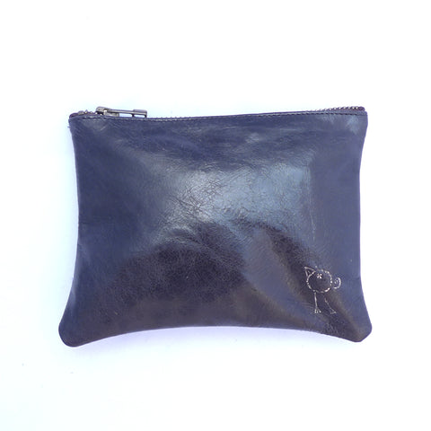Italian leather coal bird zip pouch