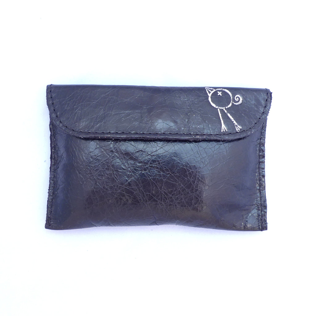 Italian leather Coal small coin purse