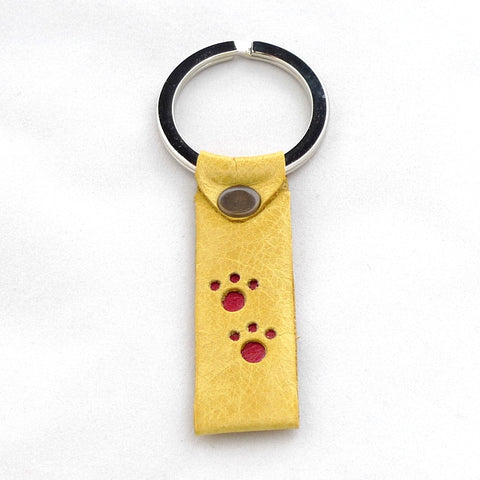Paws key fob - Daffodil with Chilli paw prints