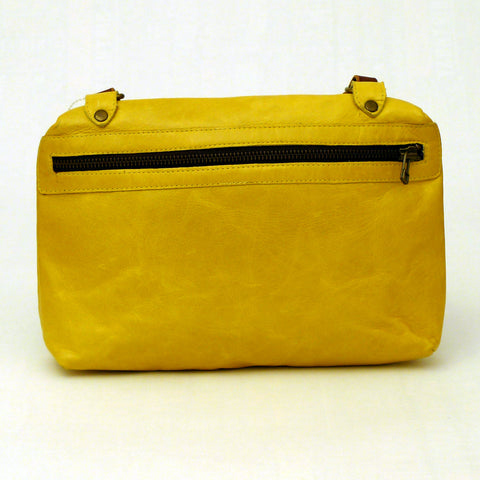 Italian leather Daffodil side zip bag
