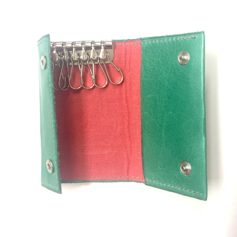 Emerald Italian leather key and card case