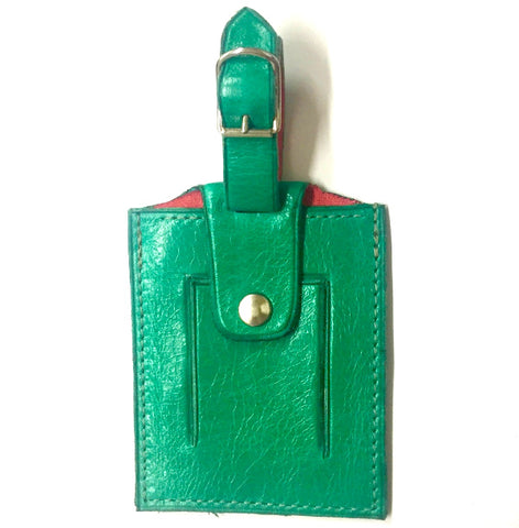 Emerald Italian leather luggage tag