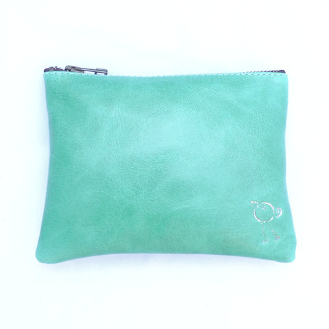 Italian leather Emerald bird zip pouch