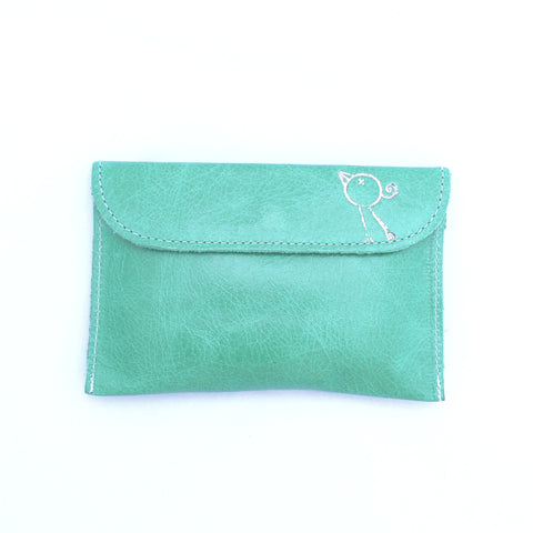 Italian leather Emerald small coin purse