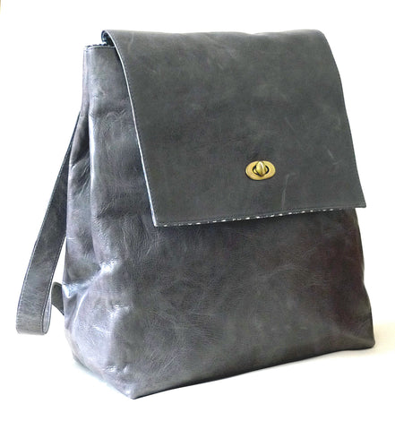 Italian leather Pewter rucksack