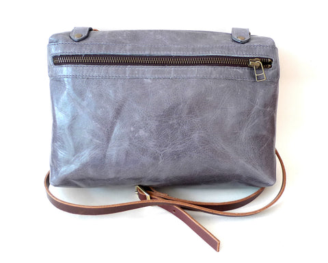 Italian leather Pewter side zip bag