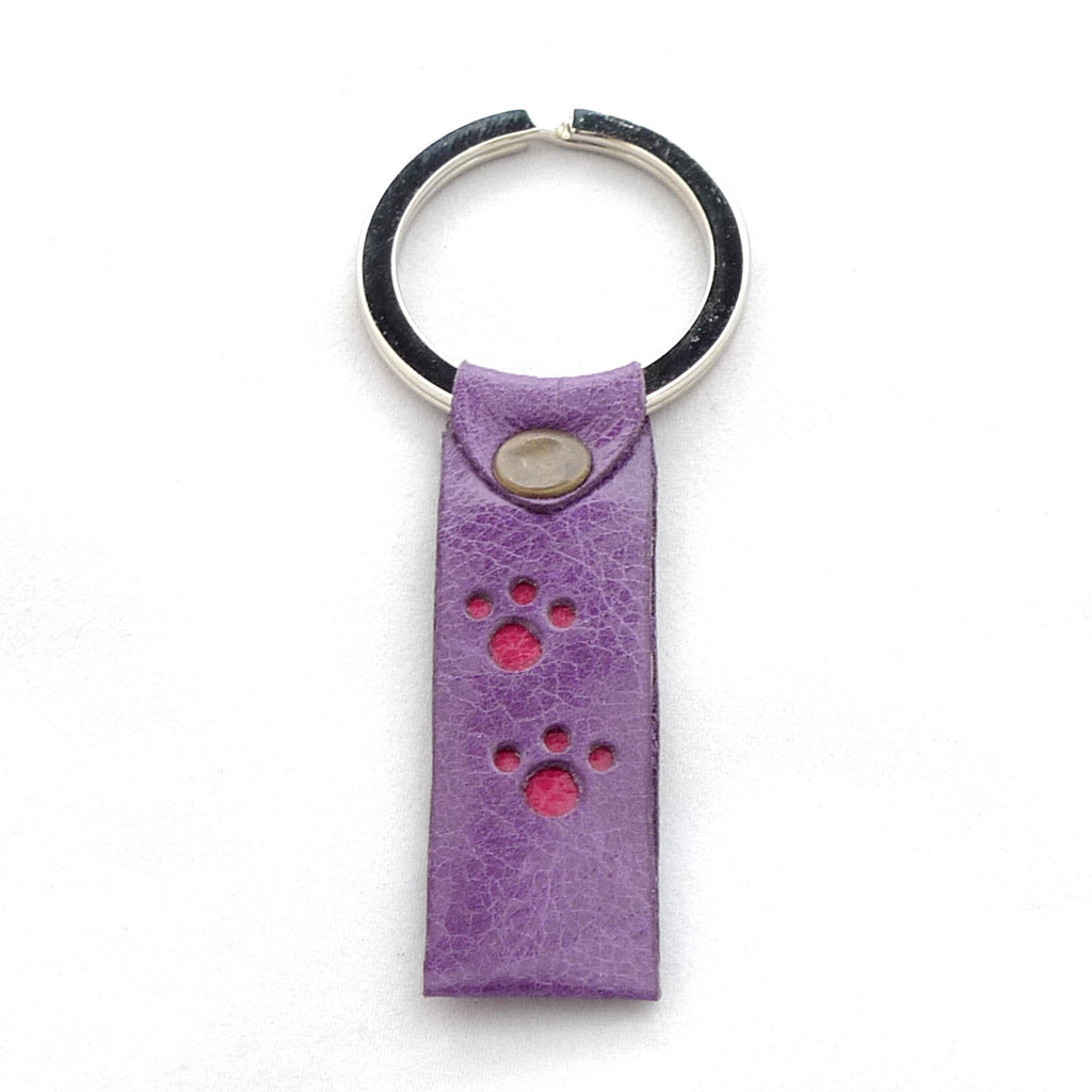 Paws key fob - Heather with raspberry paw prints