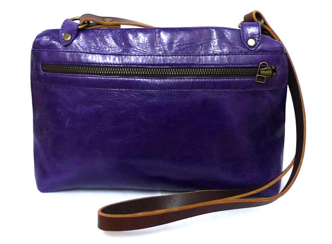 Italian leather Heather side zip bag