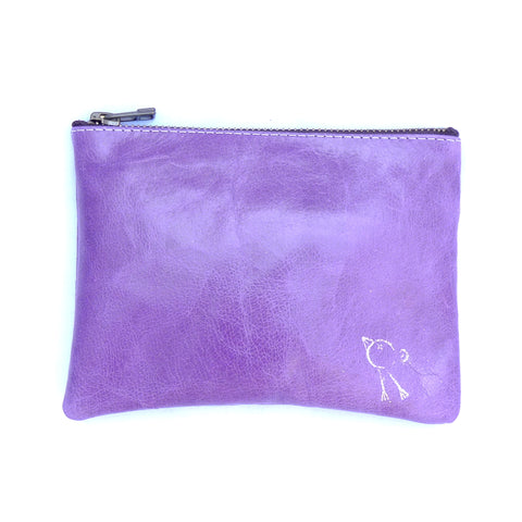 Italian leather heather bird zip pouch