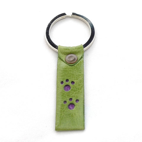 Paws key fob - Lime with Heather paw prints