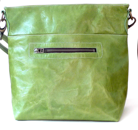 Italian leather Lime zip tote