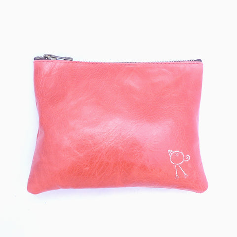 Italian leather Mandarin bird zip pouch