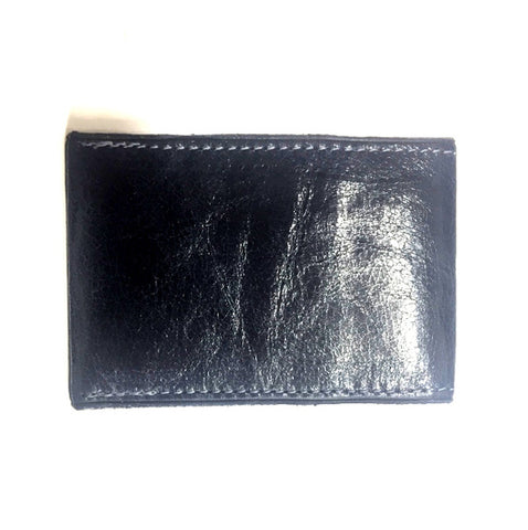 Navy 2-card Italian leather wallet