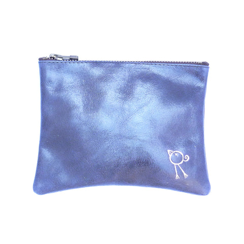 Italian leather Navy bird zip pouch