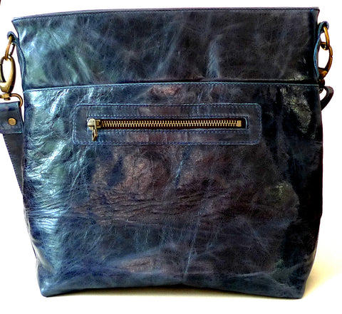 Italian leather Navy zip tote