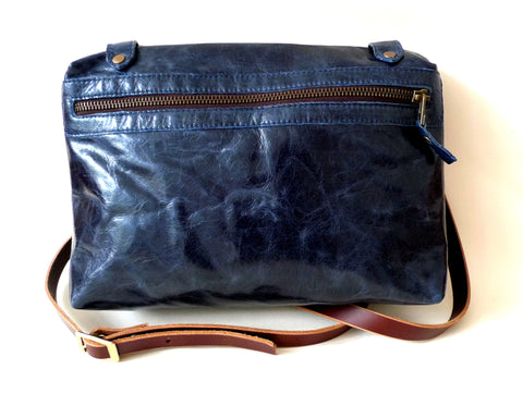 Italian leather Navy side zip bag