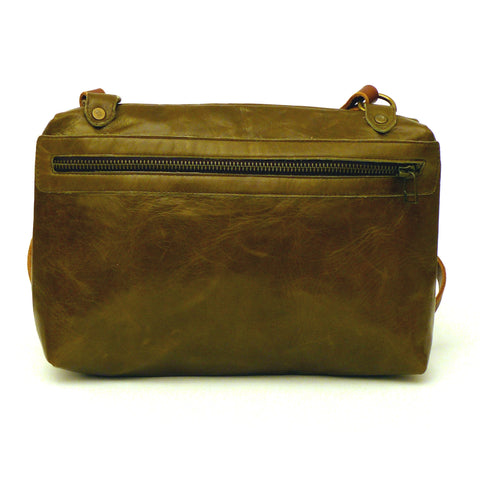 Italian leather Olive side zip bag