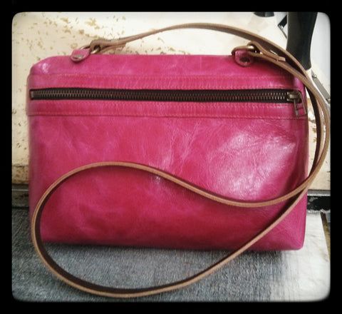 Italian leather Contemporary Rose side zip bag