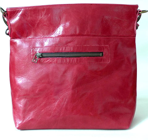 Italian leather Chilli zip tote