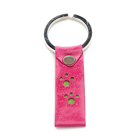 Paws key fob - Raspberry with Lime paw prints