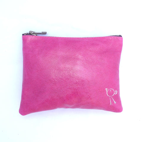 Italian leather Contemporary Rose bird zip pouch