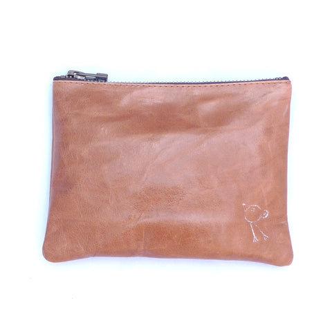 Italian leather Tan bird zip pouch