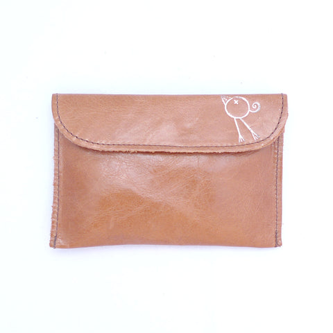 Italian leather Tan small coin purse