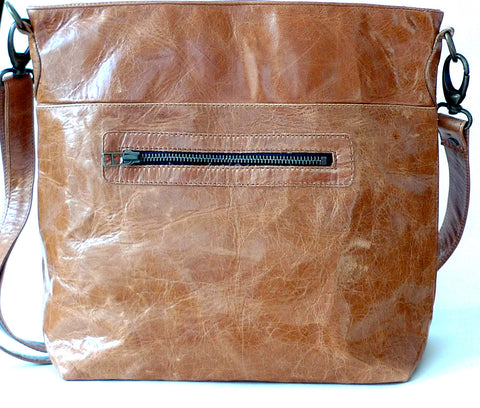 Italian leather Tan zip tote