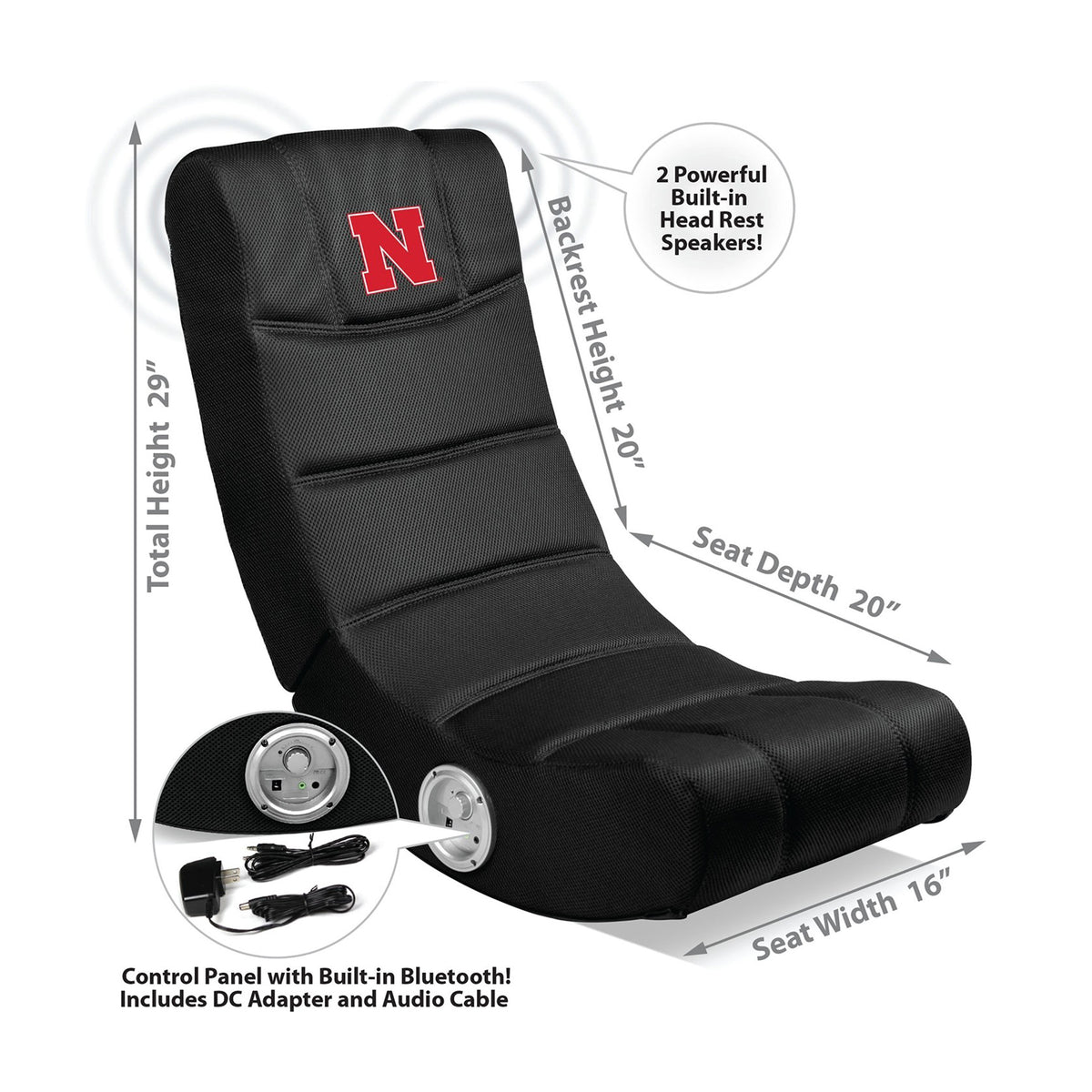 University Of Nebraska Video Chair With Blue Tooth