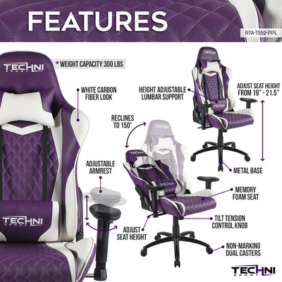 Techni Sport TS-52 Ergonomic High Back Racer Style PC Gaming Chair, Purple