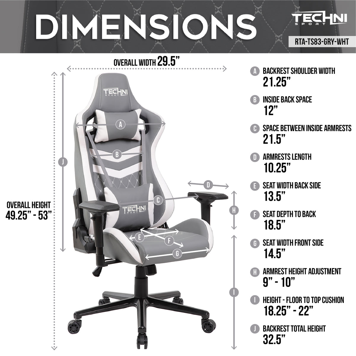 Techni Sport TS-83 Ergonomic High Back Racer Style PC Gaming Chair, Grey/White
