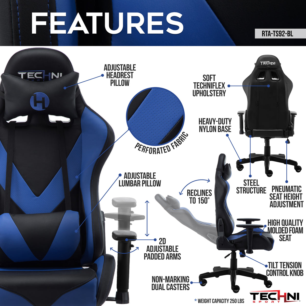 Techni Sport TS-92 Office-PC Gaming Chair, Blue