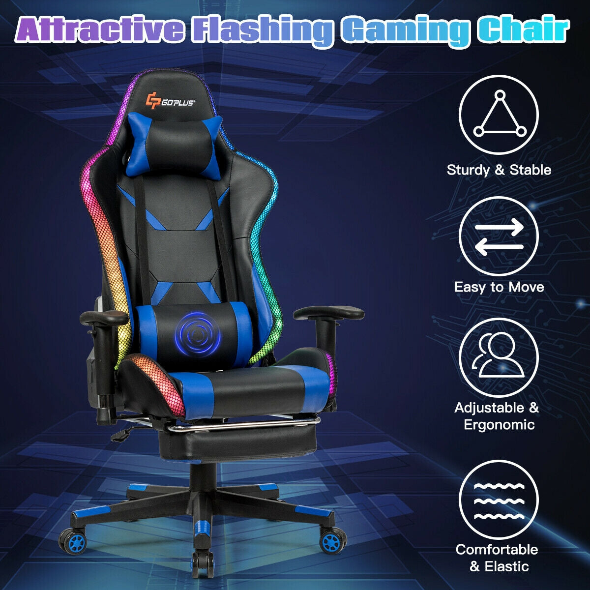Massage Racing Gaming Chair  Chair with RGB LED Lights-Blue