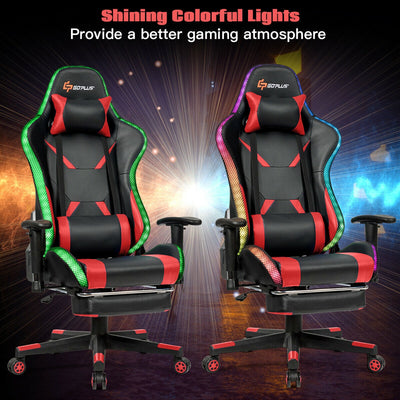 Massage Racing Gaming Chair  Chair with RGB LED Lights-Red