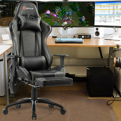 Ergonomic High Back PU Leather Massage Gaming Chair-Gray
