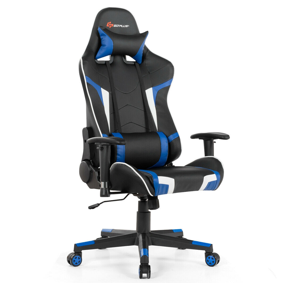 Massage Gaming Chair with Lumbar Support and Headrest - Blue