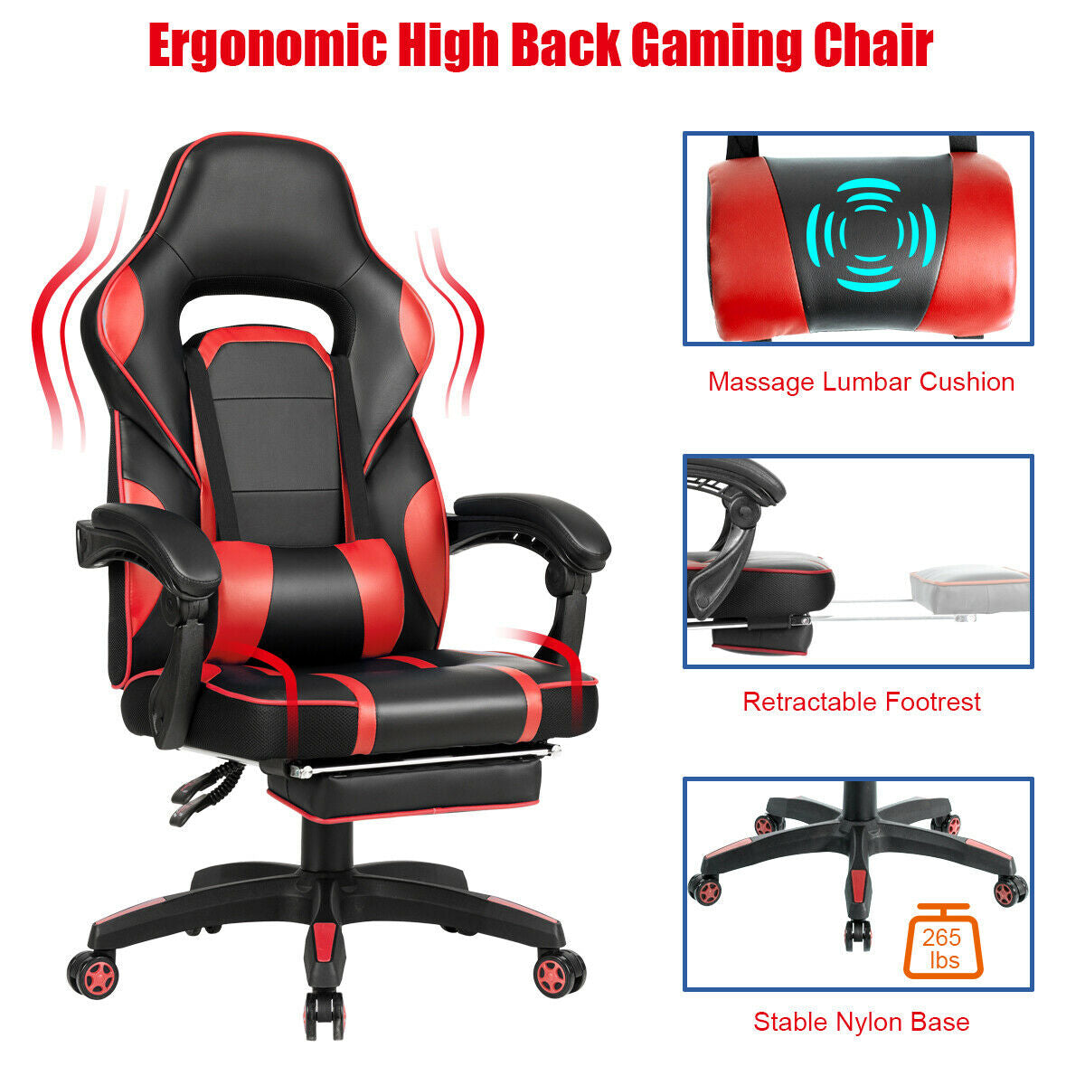 Massage Gaming Chair with Footrest & Lumbar Support-Red