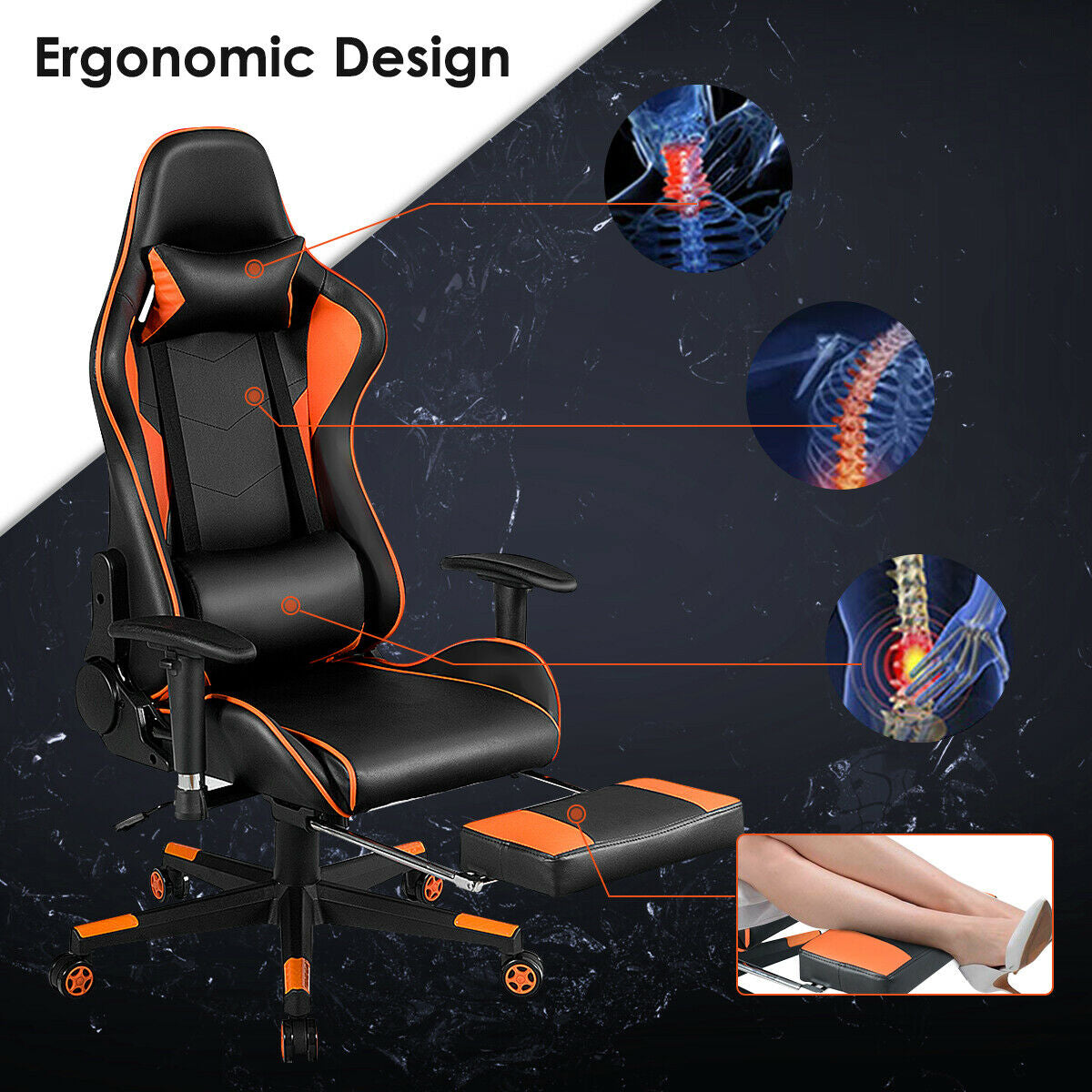 Reclining Racing Chair with Lumbar Support Footrest-Orange