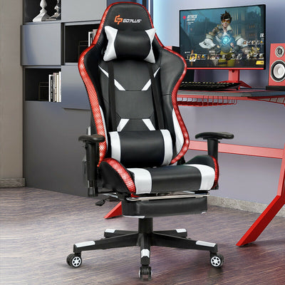 Massage Racing Gaming Chair with RGB LED Lights-White
