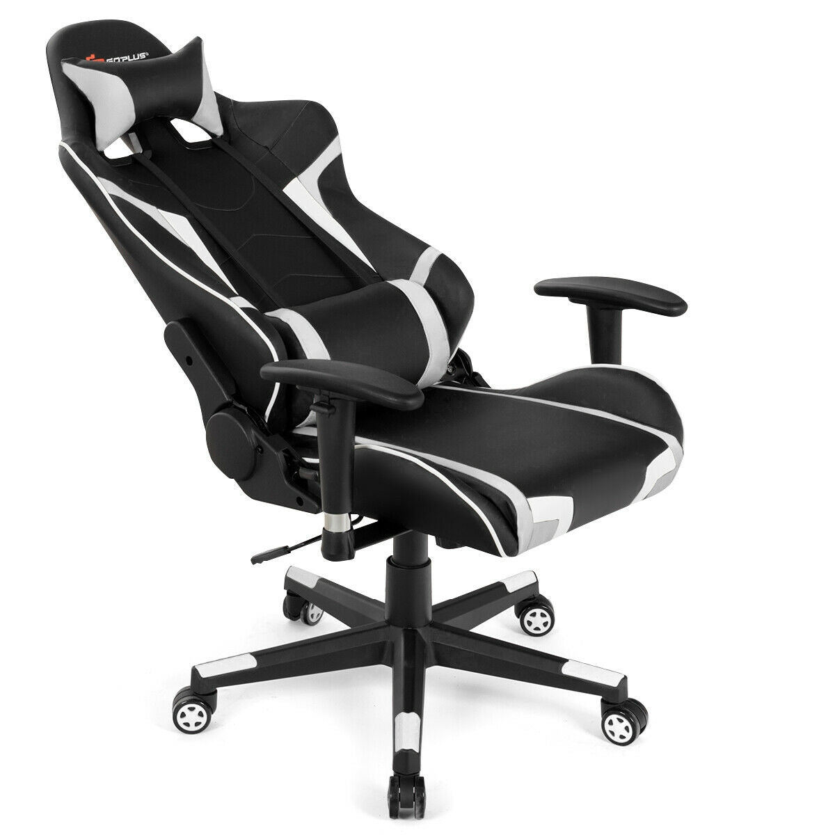 Reclining Swive Massage Gaming Chair-White