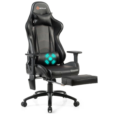 Ergonomic High Back PU Leather Massage Gaming Chair-Black