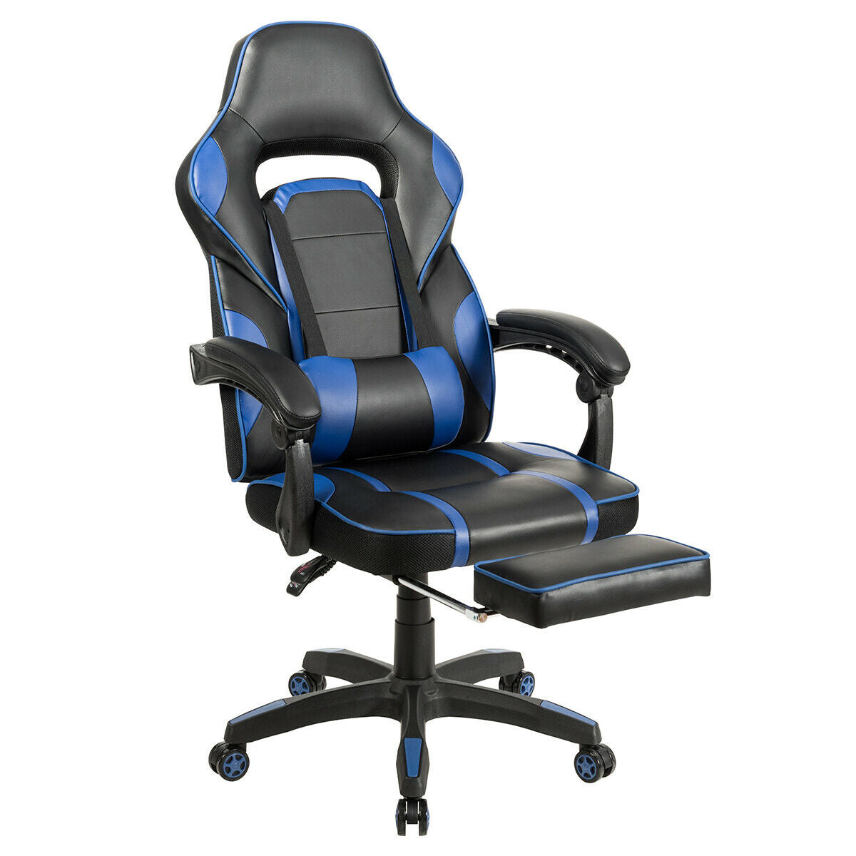 Massage Gaming Chair with Footrest & Lumbar Support-Blue