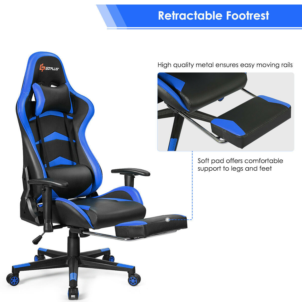 Massage Gaming Chair with Lumbar Support & Footrest-Blue