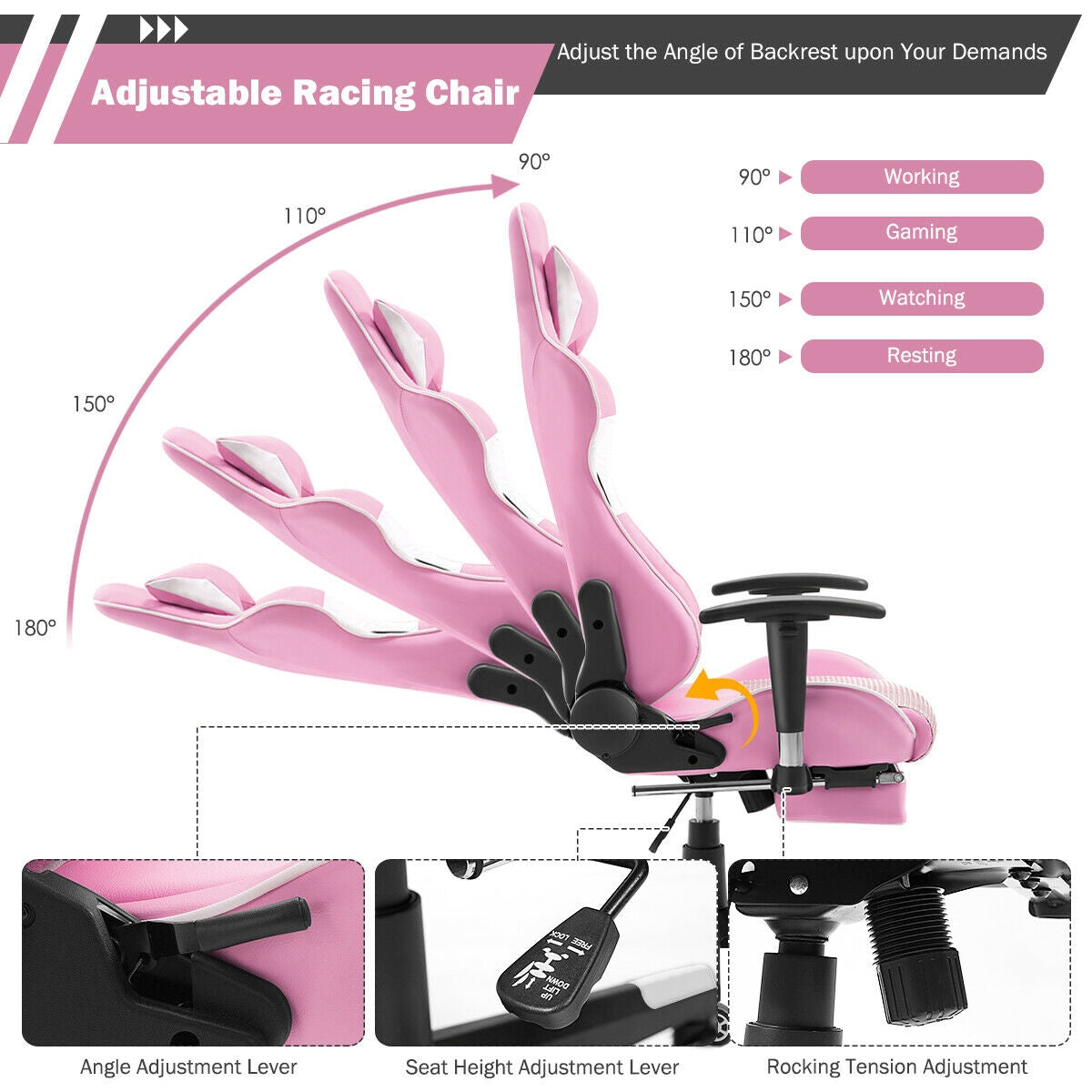 Massage Gaming Chair Reclining Racing Office Chair-Pink
