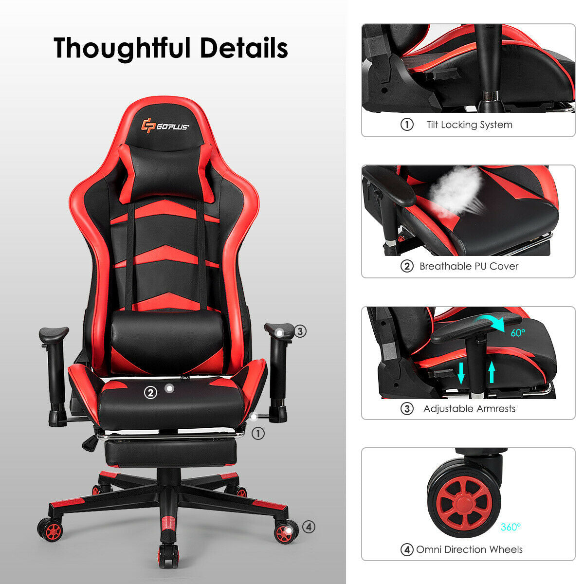 Massage Gaming Chair with Lumbar Support & Footrest-Red