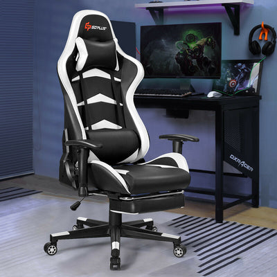 Massage Gaming Chair with Lumbar Support & Footrest-White