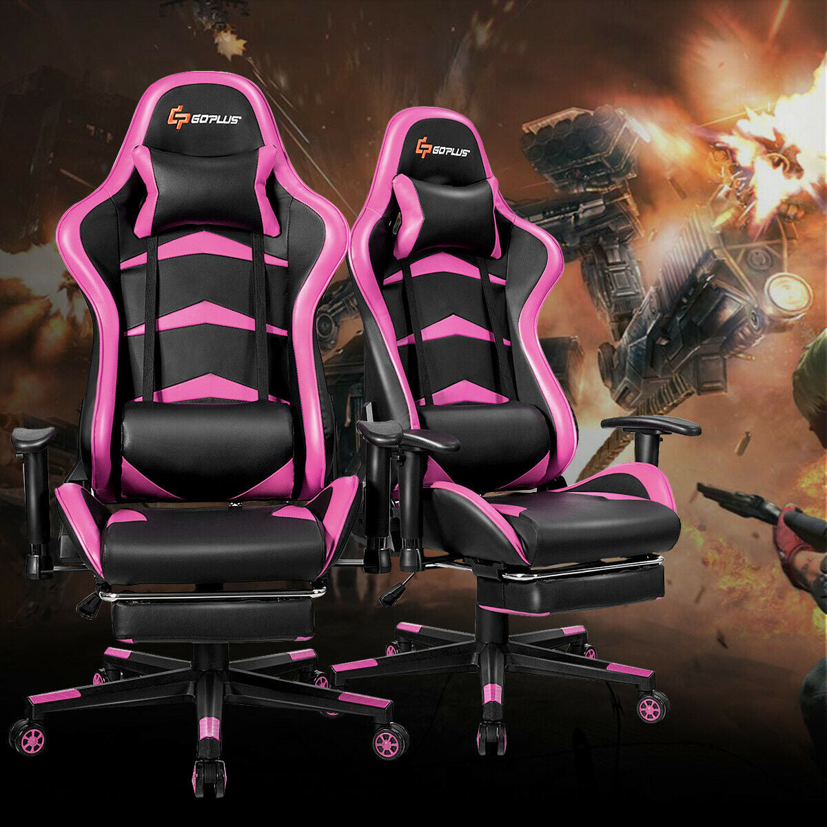 Massage Gaming Chair with Lumbar Support & Footrest-Pink